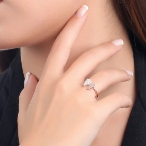 Ring silver 925 pink gold plated and white zirconia - Iris