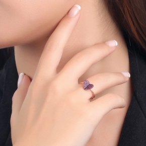 Ring silver 925 pink gold plated and colored zirconia - Iris