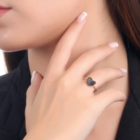 Ring Silver 925, pink gold plated with black spinel - Iris