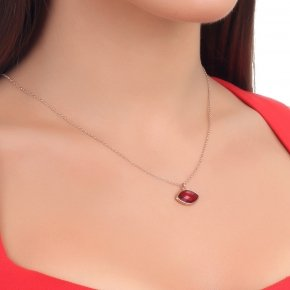 Necklace silver 925 lenght 40 cm  pink gold plated and red crystal - LITHOS