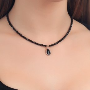 Necklace silver 925 lenght 40 cm pink gold plated onyx and black crystal - LITHOS