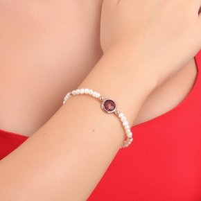 Bracelet silver 925 pink gold plated, fresh water pearl and purple crystal - LITHOS