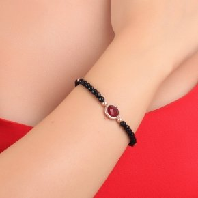 Bracelet silver 925 pink gold plated, onyx and red crystal - LITHOS