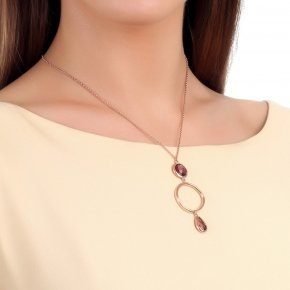 Necklace silver 925, long 80 cm, pink gold plated and purple crystals - Nostalgia