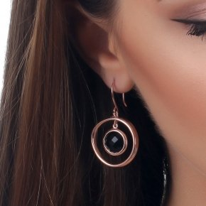 Earrings silver 925 pink gold plated and black crystals - Nostalgia