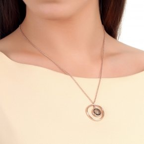 Necklace silver 925, 45 cm, pink gold plated and smoke crystals - Nostalgia