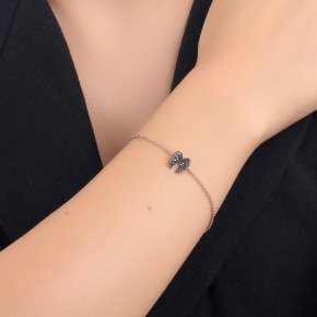 Bracelet silver 925 lenght 16,5 cm (with extra 2cm exte), pink gold plated and black spinels - Iris