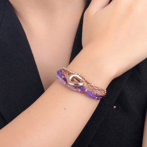 Bracelet out of metal pink gold plated, with lila and purple crystals - Armonia