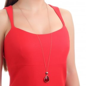 Necklace out of metal, long 80 cm, pink gold plated and red crystal - Nectar
