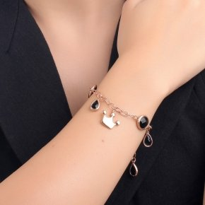 Bracelet out of metal pink gold plated with black crystals - Nectar