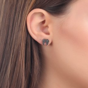 Earrings Silver 925 pink gold plated with black spinel - Iris