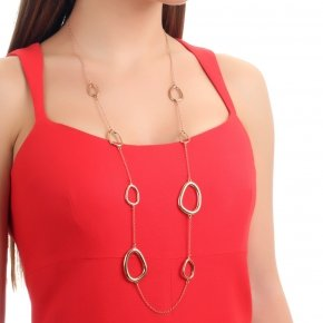 Necklace out of metal pink gold plated, long 90 cm - Armonia