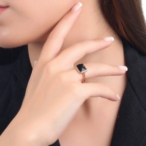 Ring silver 925 pink gold plated and black crystal - LITHOS
