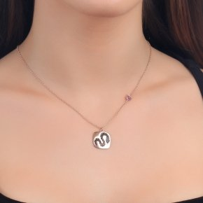Necklace silver 925 lenght 40 cm (with extra 5cm exte) pink gold plated and colored zirconia - Eva