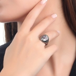 Ring silver 925with black rhodium and colored zirconia - Enigma