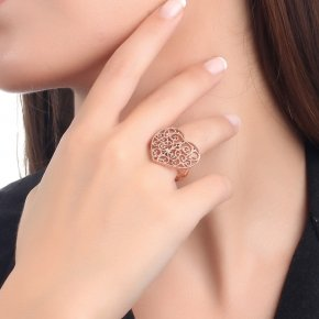 Ring silver 925 pink gold plated and black zirconia - Pathos