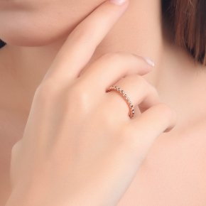 Ring pink gold K14 with black diamonds tw 0.12 ct - CLASSICS