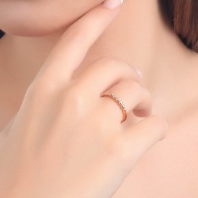 Ring in pink gold 14 carats with white diamonds tw 0.03 ct - CLASSICS