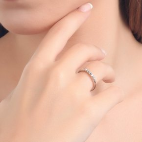 Ring in white gold 14 carats with white diamondstw 0.03 ct - CLASSICS