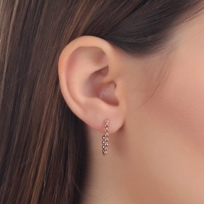 Earrings in pink gold 14 carats with black diamonds tw0.085 ct - CLASSICS