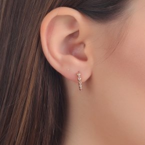 Earrings in pink gold 14 carats with white diamonds tw0.065 ct - CLASSICS
