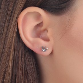 Earrings in white gold 14 carats with white diamonds tw 0,02 ct - MINI