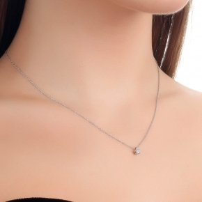 Necklace white gold K14 with diamond white SI tw 0.05 ct - MONOPETRO