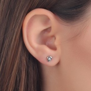 Earrings in white gold 14 carats with white diamonds SI tw0.05 ct - MONOPETRO