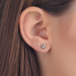 Earrings in white gold 14 carats with white diamonds SI tw0.10 ct - MONOPETRO