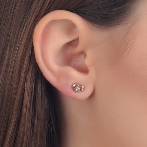 Earrings in pink gold 14 carats with white diamonds SI tw0.10 ct - MONOPETRO