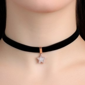 Cord Necklace in silver 925 Choker pink gold plated with white zirconia - Choker