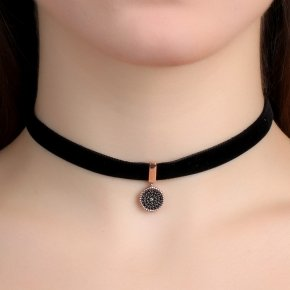 Cord Necklace in silver 925, Choker pink gold plated withblack spinel - Choker