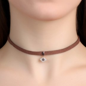 Cord Necklace in silver 925, Choker pink gold plated with white zirconiaand black spinel - Choker