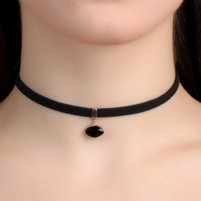 Cord Necklace in silver 925 Choker pink gold plated with onyx - Choker