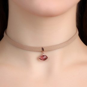 Cord Necklace in silver 925, Choker pink gold plated withpurple crystals - Choker