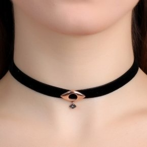 Cord Necklace in silver 925 Choker pink gold plated with black spinel - Choker