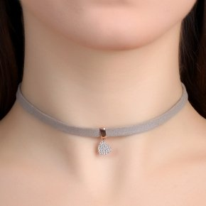 Cord Necklace in silver 925, Choker pink gold plated withwhite zirconia - Choker