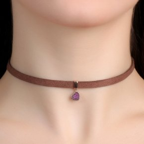 Cord Necklace in silver 925 Choker pink gold plated with pink zirconia - Choker