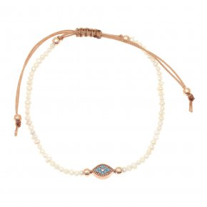 Cord Bracelet in silver 925 pink gold plated with fresh water pearls and colored zirconia - Mitos
