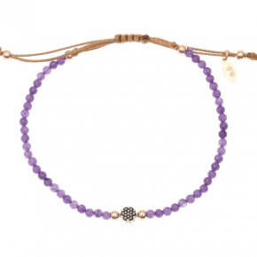 Cord Bracelet in silver 925 pink gold plated with amethystand black spinel - Mitos