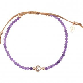Cord Bracelet in silver 925 pink gold plated with amethyst and white zirconia - Mitos