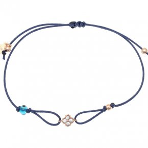 Cord Bracelet in silver 925, pink gold plated with white zirconia - Mitos