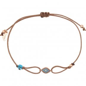 Cord Bracelet in silver 925, pink gold plated with coloredzirconia - Mitos