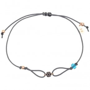 Cord Bracelet in silver 925 pink gold plated with black spinel - Mitos