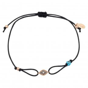 Cord Bracelet in silver 925, pink gold plated with blackspinel - Mitos