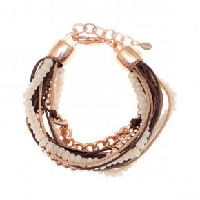 Cord Bracelet out of metal pink gold plated with synthetic stones - Amazona