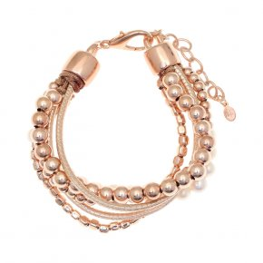 Cord Bracelet out of metal, pink gold plated with freshwater pearls - Amazona