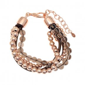 Cord Bracelet out of metal, pink gold plated with smokeyquartz - Amazona