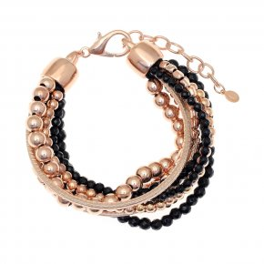 Cord Bracelet out of metal, pink gold plated with onyx - Amazona