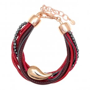 Cord Bracelet out of metal, pink gold plated with hematite - Amazona